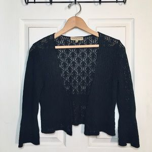 Black Open Knit Cropped Cardigan with Bell Sleeves